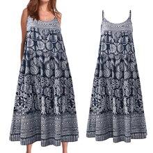 Women's Print Summer Vacation Casual BBeach Wear Loose Retro Sling Dress Ohemian