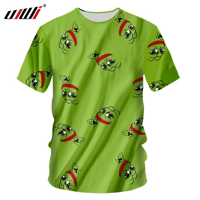 UJWI Brand Pepe The Frog T Shirt Men Summer Tops Cool Green Cartoon Tee Shirt Harajuku Fashion 3D T-Shirt Plus Size 7XL Dropship