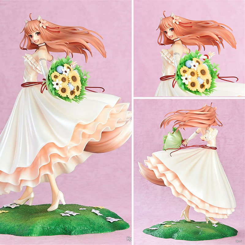 24cm Japanese girl Anime Spice And Wolf Holo 1/8 scale painted figure Wedding Dress Ver. PVC action figure collection model toy 20cm figurine japanese anime spice and wolf holo pvc action figures sexy girl model toys gift