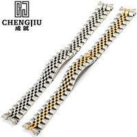 Mens Curved Interface Steel Watch Strap For Rolex For Datejust Silver Watches Band Butterfly Buckle Bracelet