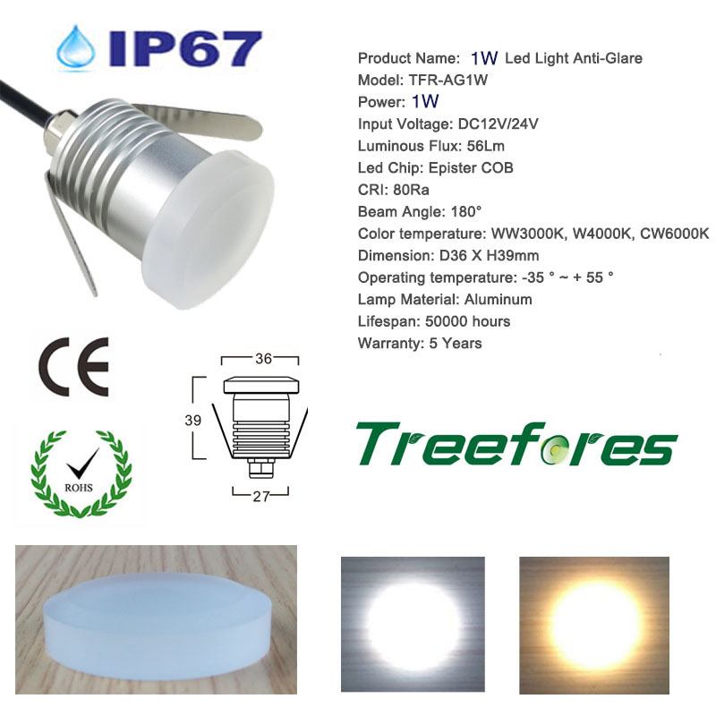 IP67 Outdoor Indoor 1W 12V COB 30mm Mini LED Spot Bulb Light for Cabinet and Stair Home Bed Room Kitchen Dining Lighting Lamp