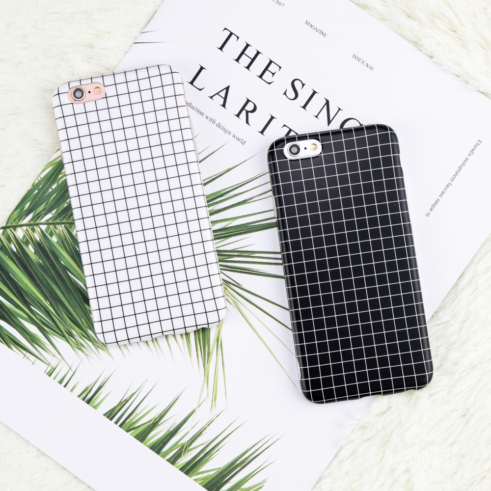 Luxury Retro Black White Grid Phone Case For iphone 6 Case For iphone 7 6 6S 8 Plus Cases Fashion Simple Glossy Soft Back Cover