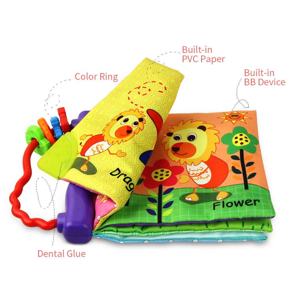 4 стиля детский блокнот, Обложка из мягкой ткани шуршит звук Ранние развивающие книжки-погремушки коляска для новорожденных Висячие для младенцев обучения английский