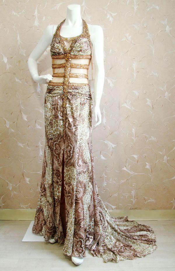 Arlene sain femmes Moyen-Orient Dubaï personnalisé exotique léopard soie Brûlé perlée Lourde sexy gaze de fuite robe 256