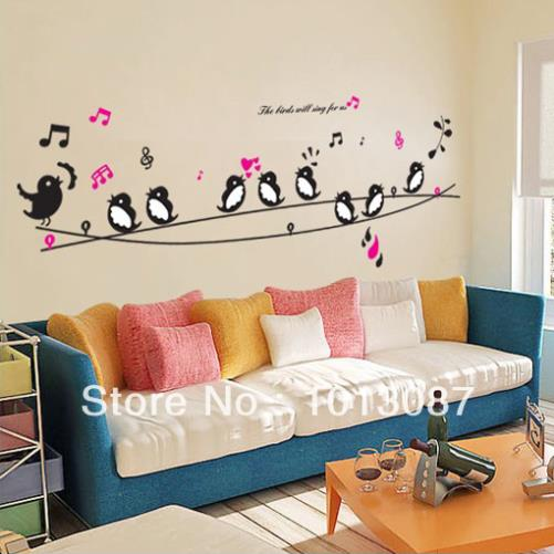 Diy Living Room Wall Decor birds singing music diy wall decor wall stickers animals poster