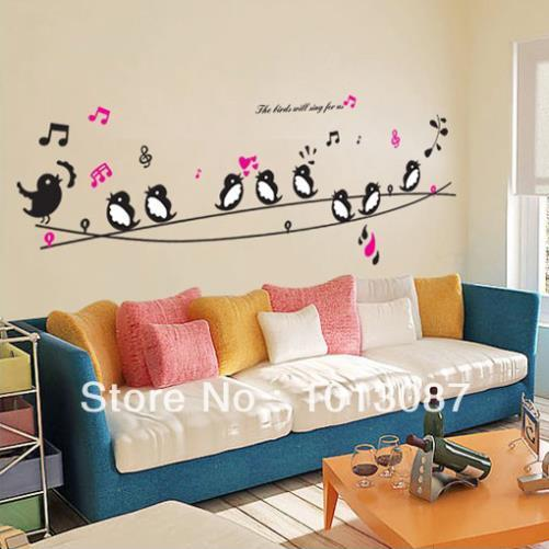 Decorating Paper Crafts For Home Decoration Interior Room: Birds Singing Music DIY Wall Decor Wall Stickers Animals