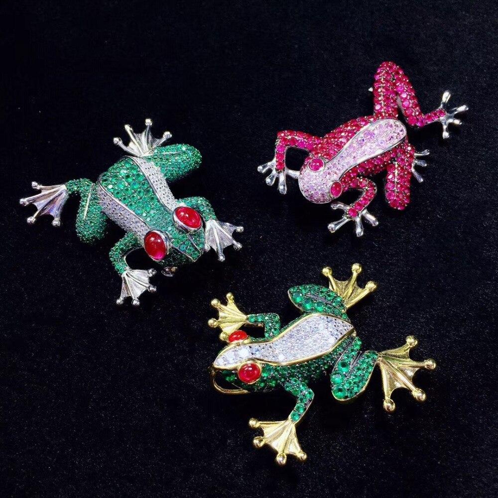 Unisexe bijoux 925 en argent sterling avec zircon cubique grenouille broche broches mode hommes et femmes bijoux vert rose rouge couleur