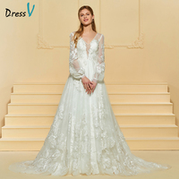 Dressv Ivory Long Wedding Dress V Neck Long Sleeves Tulle Sweep Train A Line Button Lace Empire Waist Custom Wedding Dress