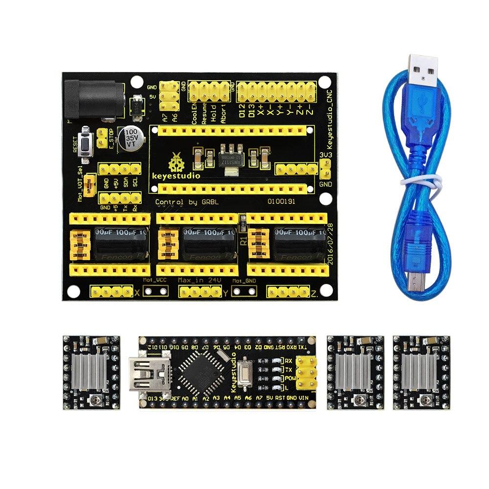 Freies Verschiffen! NEUE! Keyestudio CNC Schild V4 + 3 Stücke A4988 Fahrer + Nano CH340 Für Arduino CNC