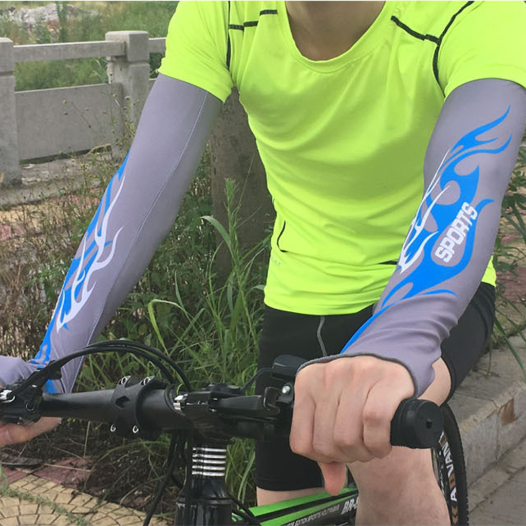 1 Pair Gray Cycling Arm Sleeves UV Cooling Sleeves Arm Cover Sun-Protection For Bike Arm Sleeve Basketball Athletic Sports
