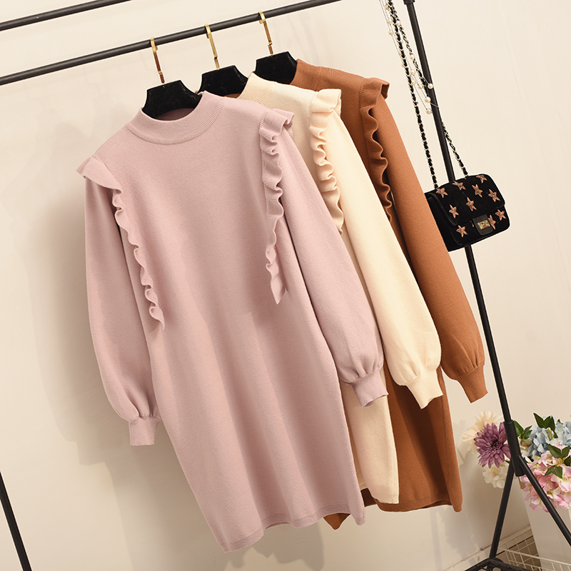 pure and fresh black fungus and loose long-sleeved autumn/winter sweet render wool knitting dress sweet underdress