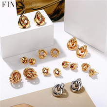 Minimalist Gold Silver Color Love Knot Earrings for Women Classic Twisted Stud Earrings Tie the Knot Wedding Jewelry cheap Fine Too Zinc Alloy Geometric TRENDY Metal Fashion Knot Earrings FTS1553 Push-back Bohemian Fashion Trendy Vintage Casual