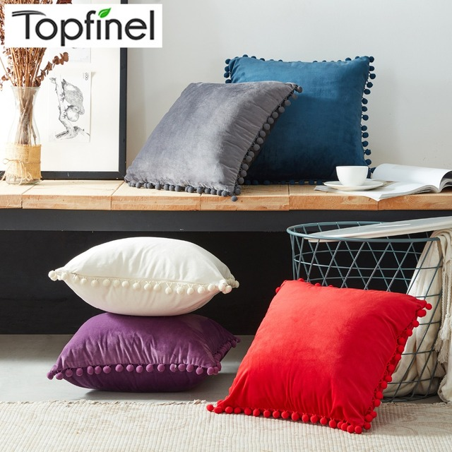 Topfinel Velvet Soft Decorative Throws Pillows Cushions Covers Luxury Square Pillowcase With For Sofa Bed