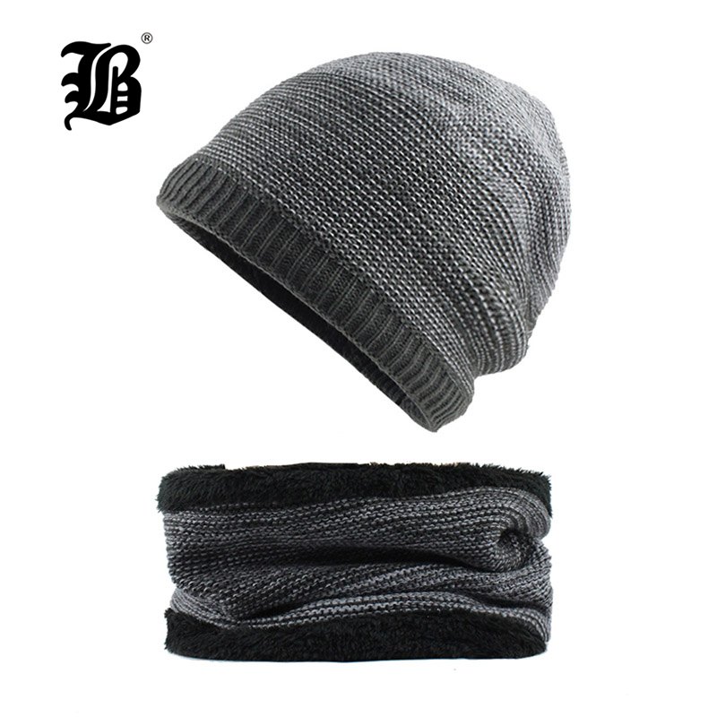 [FLB]   Skullies     Beanies   Winter Knitted Hat   Beanie   Scarf Men Winter Hats For Men Women Caps Gorras Bonnet Mask Brand Hats F18017