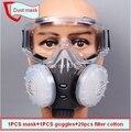 Gafas + máscara de polvo del respirador máscara de polvo A Prueba de Viento + 20 filtro de algodón KN95 anti contaminación anti-polvo del respirador 8010 tipo