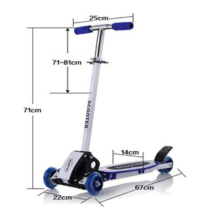 Image 2 - Scooter round four 4 wheel roller skates fold baby Children slippery car shipping skuter trottinette for kids with shine wheel