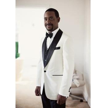 Bespoke Mens Suits Slim Fit Peaked Lapel Men Tuxedos Wedding Suits   Groomsmen Suits Mens 3 Piece Suits (Jacket+Pants+Vest A202
