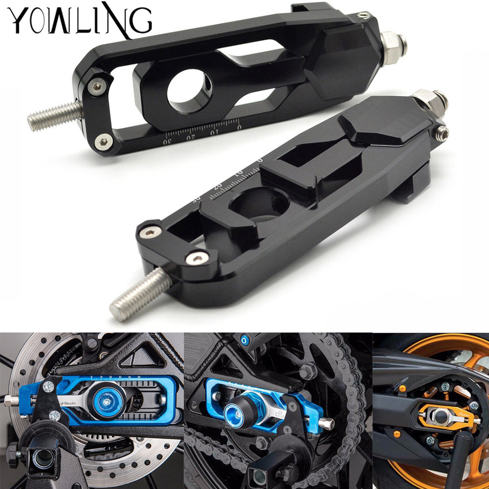 Black Motorcycle Rear Axle Chain Adjuster Tensioner Catena Spool For Yamaha MT09 FZ-09 MT-09 FZ09 2013 2014 2015 2016 2017