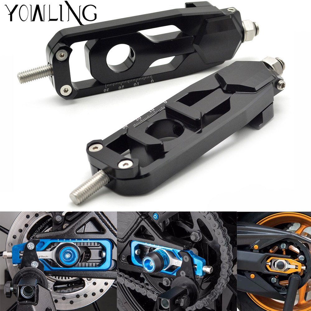 Motorcycle Chain Adjusters Tensioners Catena rear axle spindle chain adjuster For YAMAHA MT-09 MT09 TRACER FZ-09 FJ-09 FZ MT 09 motorcycle parts for yamaha mt 09 fz 09 mt 09 tracer 2014 2015 2016 fz09 mt09 tracer radiator grille rear set chain guards etc