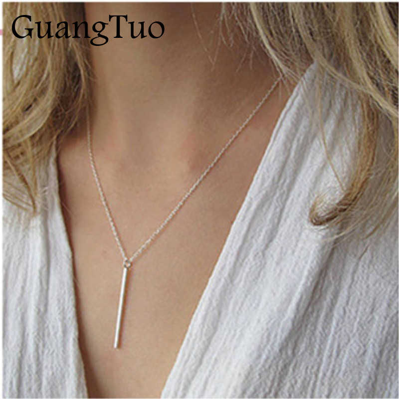 New Simple Classic Fashion Stick Pendant Necklace Silver Chain Square Copper Collares Long Strip Charm Bar Jewelry for Women
