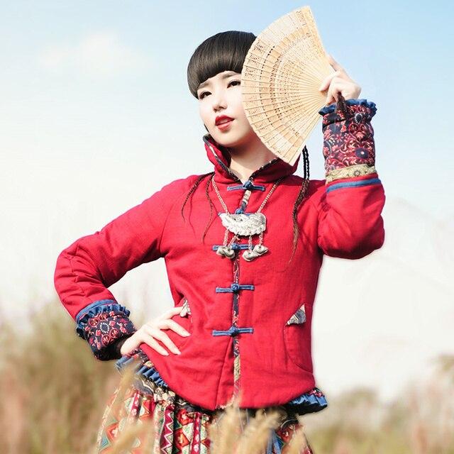 6ca5d7a9ed66 King - BOSHOW Winter Original Design Women Chinese National Trend Color  Block Short Cotton
