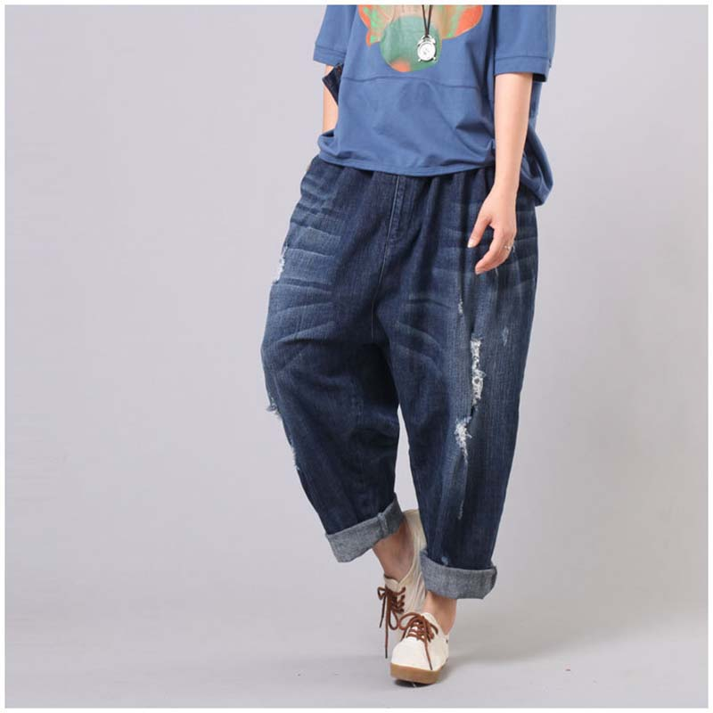 Korean Fashion Boyfriend Ripped   Jeans   Women Elastic Waist Harem Hip Hop Denim Pants Wide Leg Loose Baggy   Jeans   Trousers YSBS
