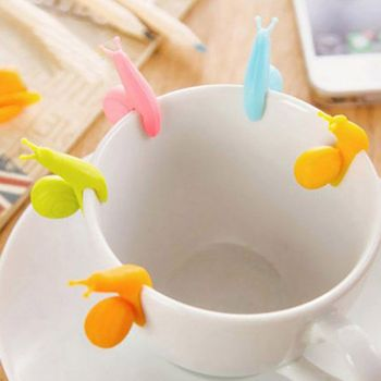 1 Set/5 Pcs Cute Party Cup Distinguishing Clips Snail Silicone Tea Bag Hanging Tea Merchants Small Cute Gifts New image