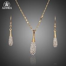Azora stellux cristal austriaco de color oro gota de agua pendiente de gota colgante y collar tg0022