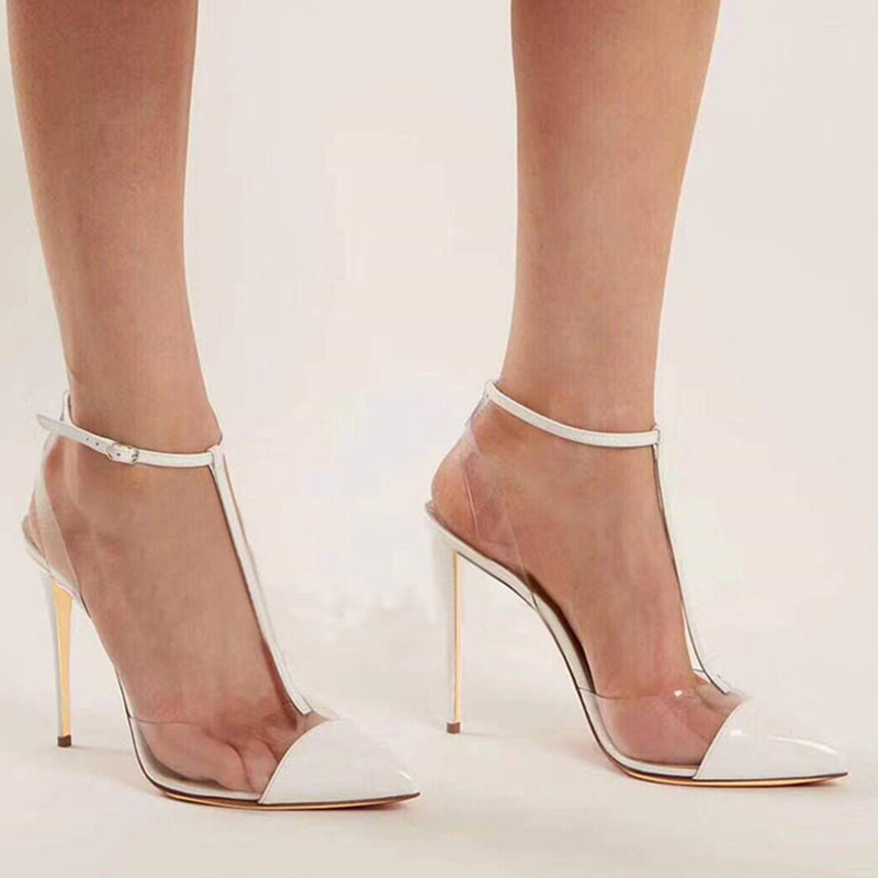 2018 Woman Pumps Mixed Color High Thin Heel PVC Transparent Sexy Woman Shoes Buckle Design Gladiator Woman Stiletto Pointed Toe