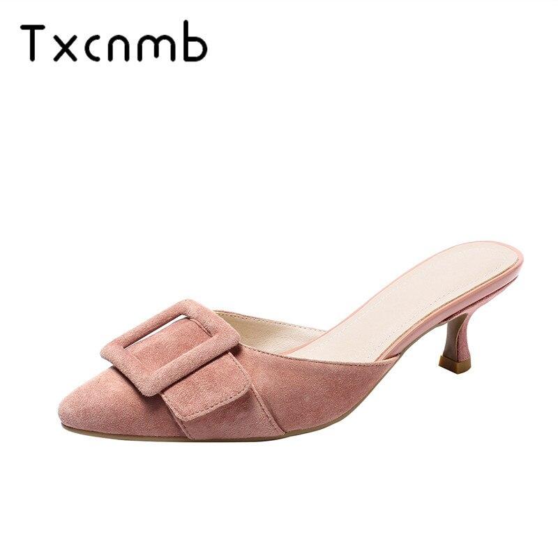 TXCNMB 2019 Fashion Basic wedding Lady Shoes Woman Summer Genuine Leather High Heels Wedding Shoes Women