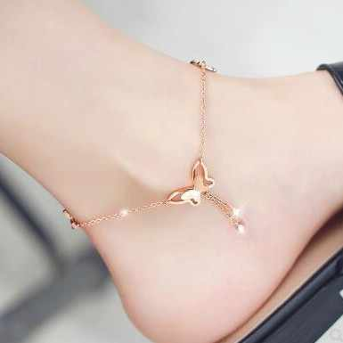 Free Shipping! 2018 Fashion New Anklet Simple Wild Simple Adjustable Length Butterfly Crystal Ladies Anklet Gift Wholesale
