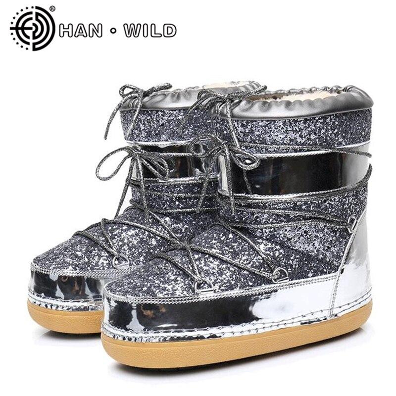 Fourrure chaude hiver bottines Bling espace bottes femmes laine neige bottes dames garder au chaud chaussures longue en peluche plate-forme bottes de Ski