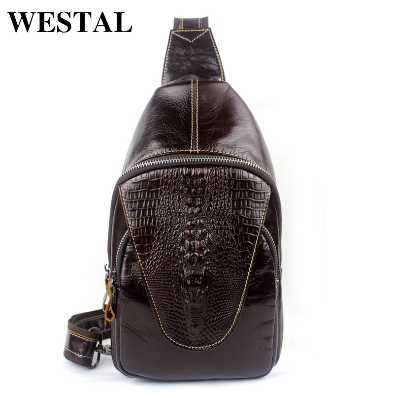 WESTAL 100% Genuine Leather Men Bags Hot Sale Alligator Pattern Man Pack Vintage Men Messenger Bags Crossbody Shoulder Bag 8082 westal hot sale male bags 100% genuine leather men bags messenger crossbody shoulder bag men s casual travel bag for man 8003