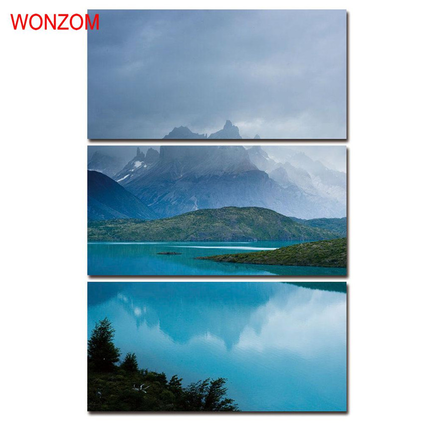 WONZOM HD Printed Graceful Lake Picture Framed Directly To Hang For Living Room 3pc Large Modern Modular Cuadros Decoracion 2017