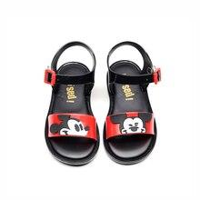 Mini Melissa Style Mickey Minnie Twins Pattern Girls Jelly Sandals Kids Non-slip Princess Shoes Toddler