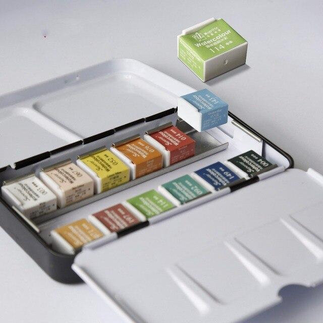 12/24/36/48 colores pigmento sólido acuarela pinturas conjunto con pincel acuarela pigmento conjunto arte suministros