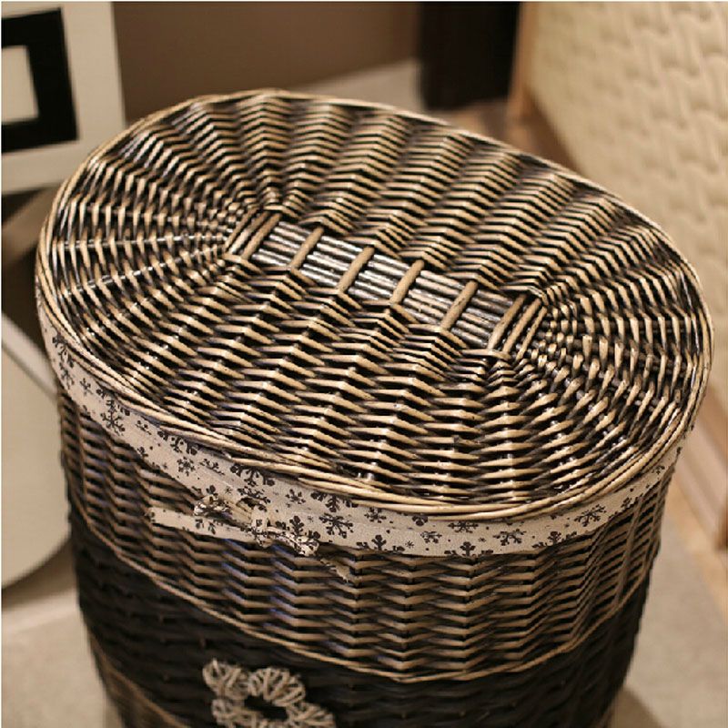 Vintage Wicker Storage Basket With Lid Large Laundry Basket For Clothes  Decorative Handmade Wicker Dirty Laundry Baskets Gifts In Storage Baskets  From Home ...