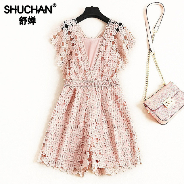 Shuchan Lace Rompers Womens Jumpsuit Office Lady Playsuits Office Lady Woman Streetwear 2019 Women Designer Clothing 51598
