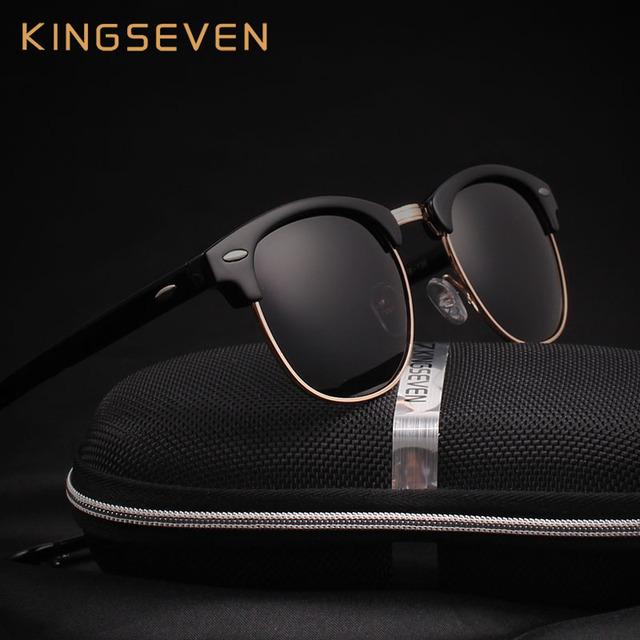 Orignal KINGSEVEN Real Polarizado Mulheres Óculos Escuros De Grife Marca Do Vintage Retro Rodada Óculos De Sol óculos de Sol Óculos Oculos Gafas