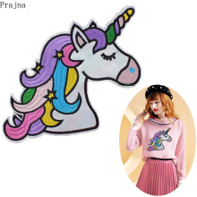Prajna Large Rainbow Unicorn Patch Sew On Patches Cartoon Cheap Embroidered For Clothes Kids Cute Badge DIY Applique