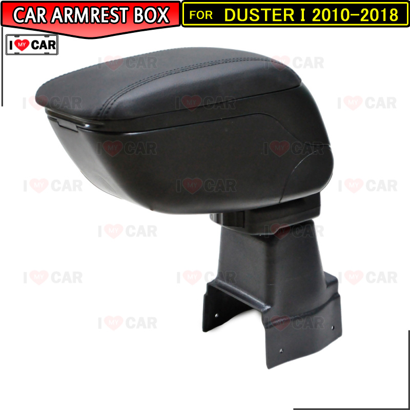 For Renault Duster I 2010 2018 car armrest storage box center console leather arm rest cup