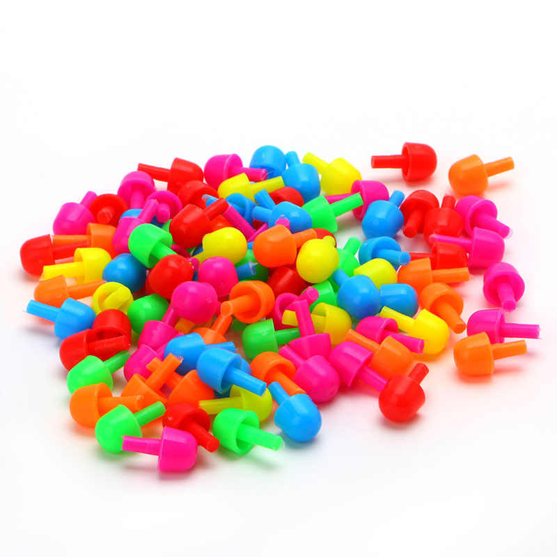 92 יחידות ציפורני פטריות creative מתנת צעצוע בלוקים עם ערכת לוח קיד החינוכי diy