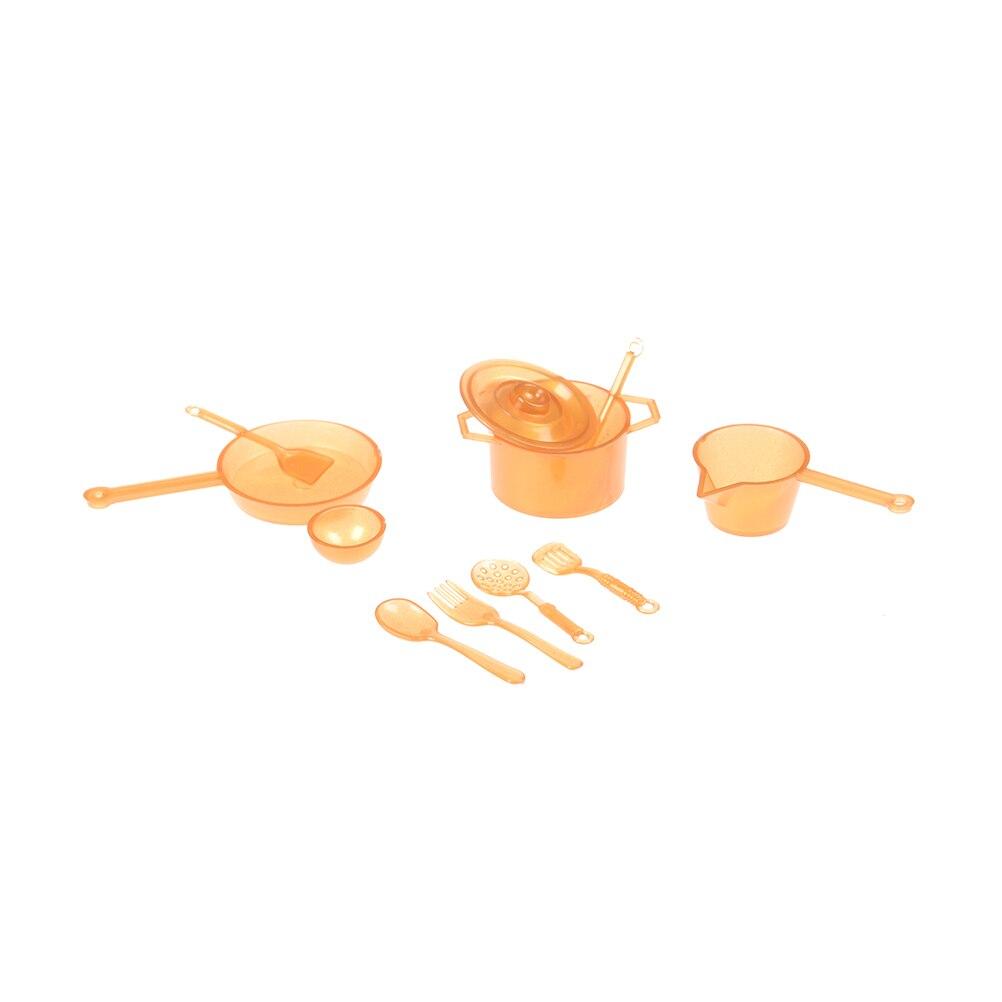 10pcs/lot 1:12 Dollhouse Miniature Figure Fork Pot Kitchen Set Food Toys Accessories Dolls Xmas Mini Tableware Pretend Play Toys