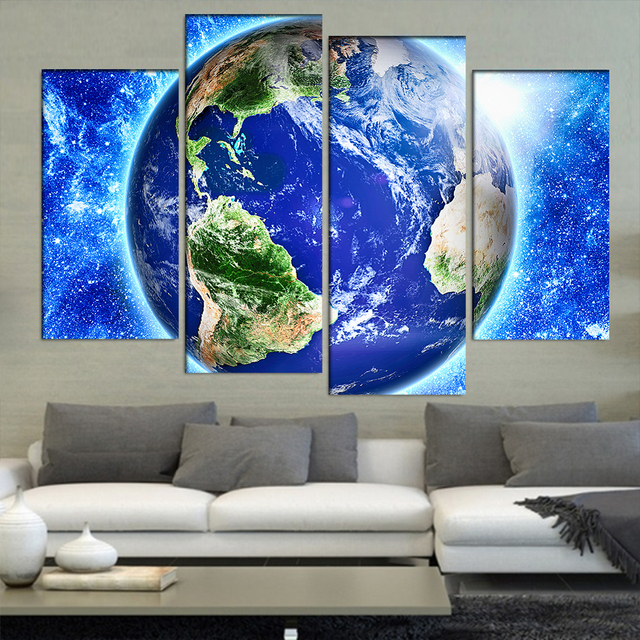 Wall Art Canvas Painting Poster Wall Frame Pictures 4 Panel Earth ...