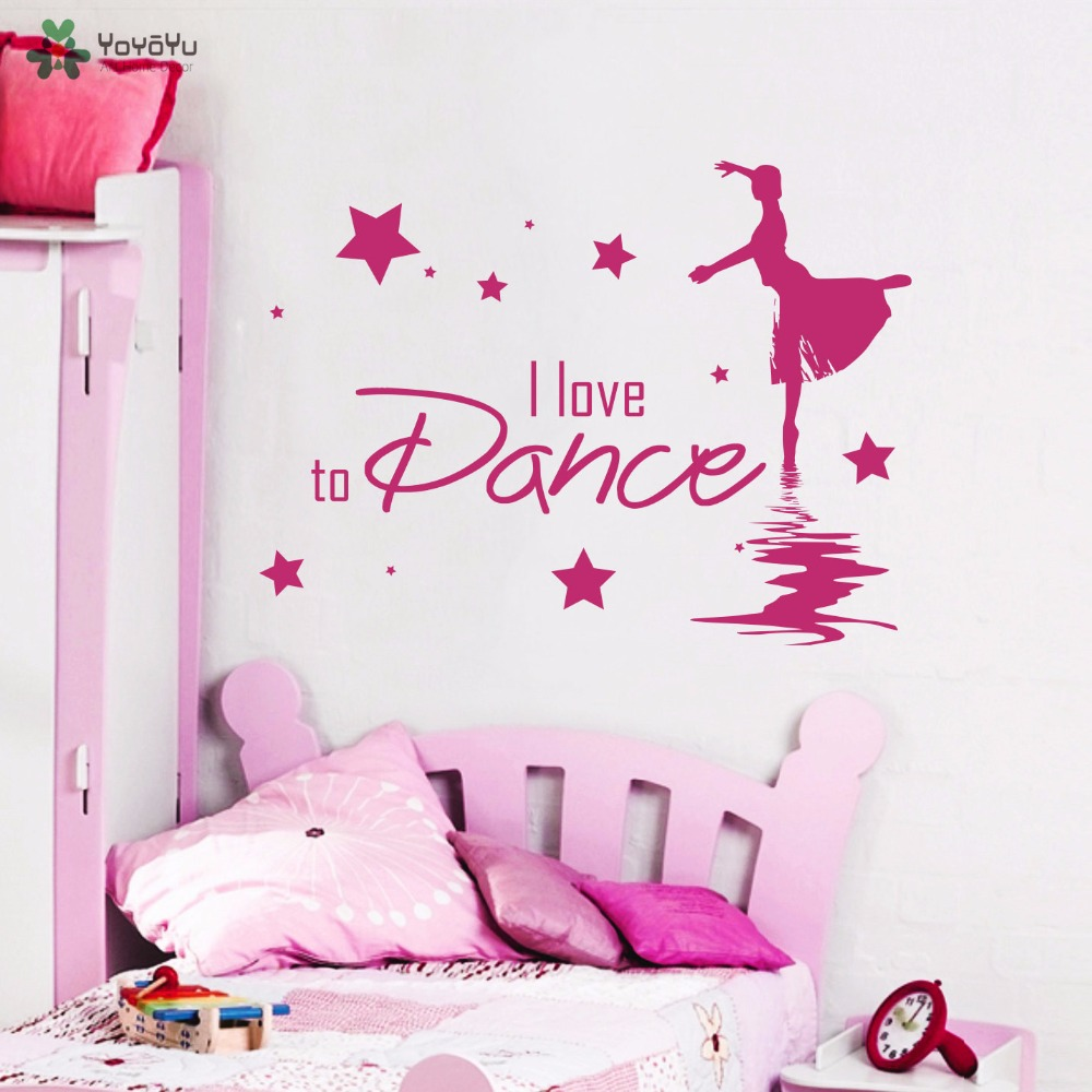 Novel Designs Delightful Colors And Exquisite Workmanship Yoyoyu Wall Decal Quotes I Love To Dance Ballerina Vinyl Wall Stickers For Girls Bedroom Art Mural Ballet Removable Decor Sy954 Famous For Selected Materials