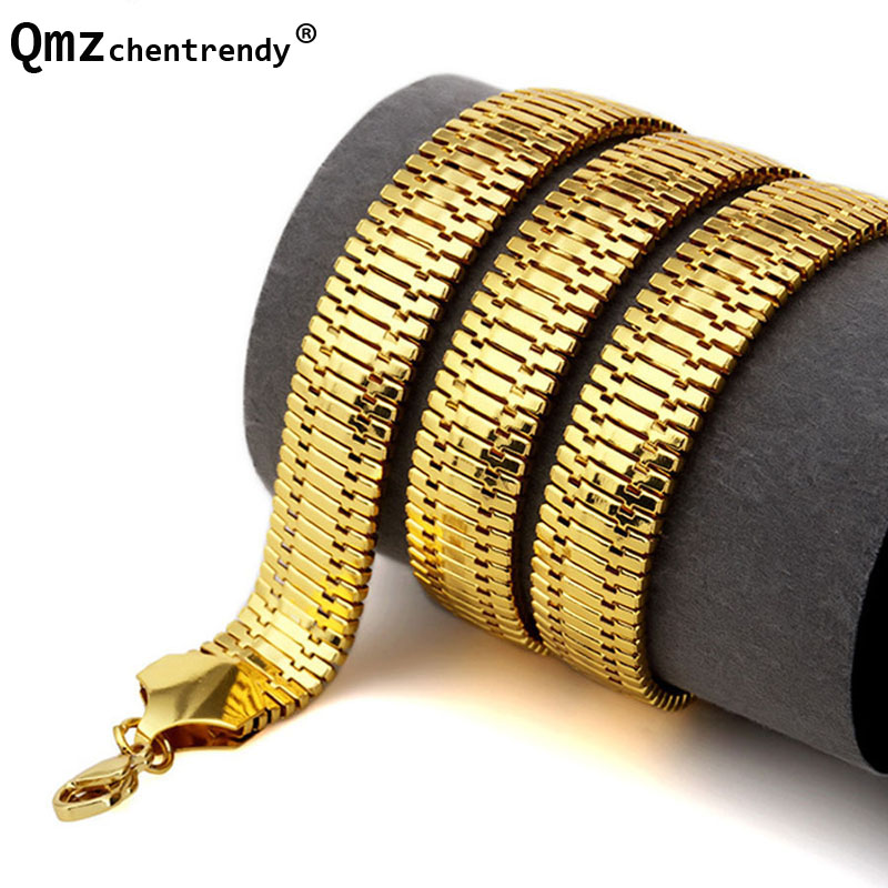 High quality 75CM*14MM Hip Hop Mens Herringbone Necklaces Gold Filled Electroplated Chunky Boys NightClub Fishbone Jewelry 25mm mens boys gold