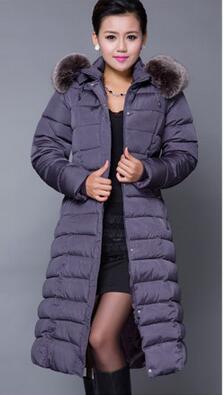 Winter Women Fashion Long Thick Warm Down Cotton Jacket Women High Quality Fur Collar Slim Coat Women Overcoat Parka XL-5XLSIZE