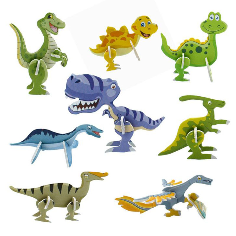 10 Pcs/lot Useful 3D Dinosaur Paper Model Puzzle Assembled Brain Teaser Games Educational Toys For Children Jigsaw Kids Toys