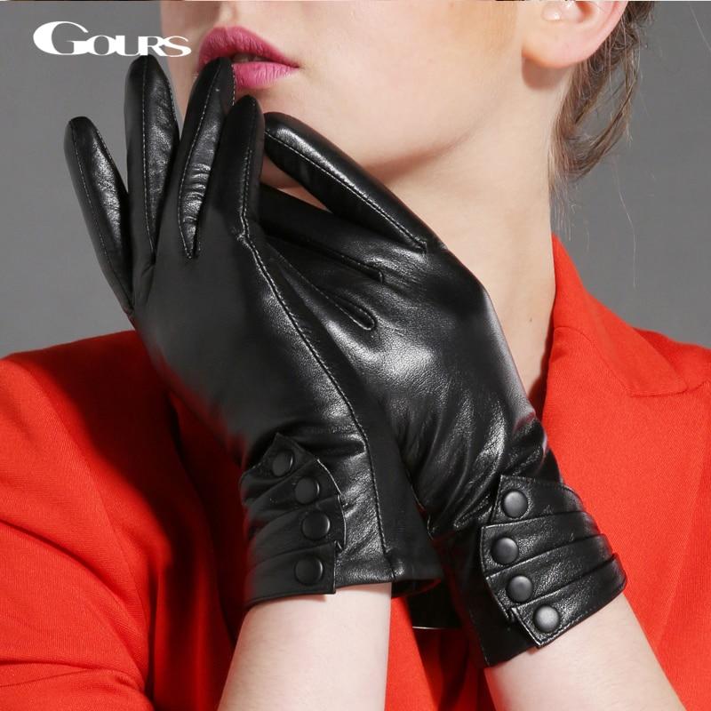 Gours Winter Genuine Leather Gloves For Women Fashion Brand Black Goatskin Button Gloves New Arrival Warm Mittens GSL017