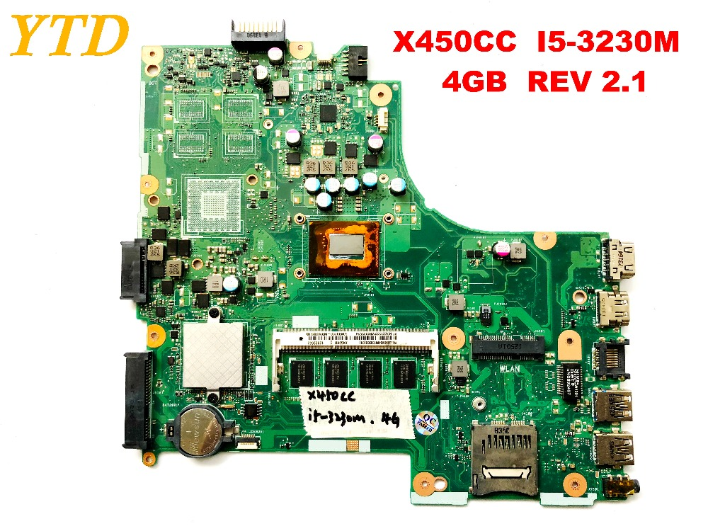Original for ASUS X450CC laptop motherboard X450CC <font><b>I5</b></font>-<font><b>3230M</b></font> 4GB REV 2.1 tested good free shipping image